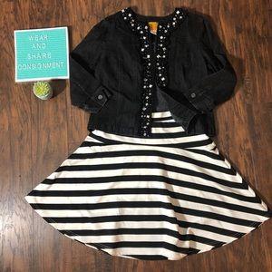 Skater Skirt Black White Stripe Aline Medium Jrs